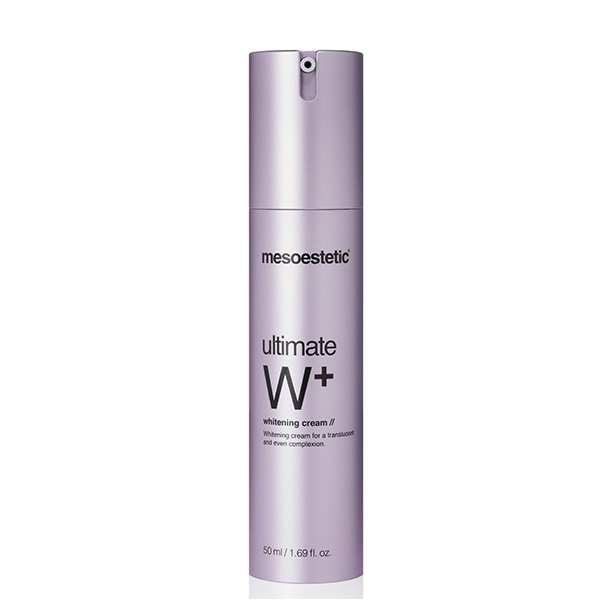 Mesoestetic ultimate w+ whitening cream developed for dull skins, with dark spots, minor wrinkles and lack of luminosity. 50ml