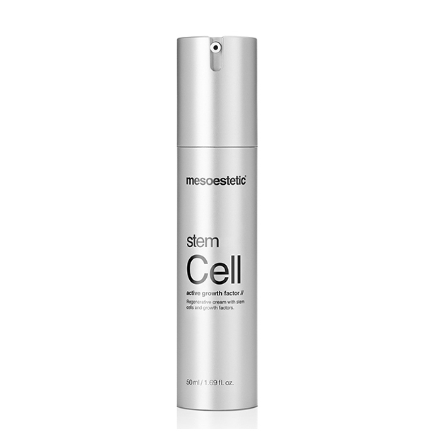 Mesoestetic Stem Cell Active Growth Factor Regenerative Cream is a regenerating and repairing skin cream with signs of aging Grade III: loss of elasticity, deep wrinkles, tissue decay, oval loss of face, and slowed recovery and renewal capacity. 50ml