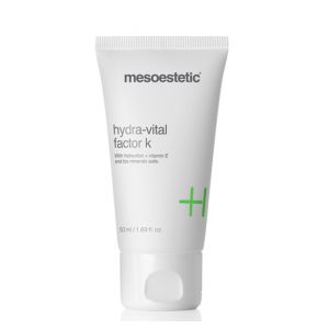 Mesoestetic Hydra-Vital Factor K is an ultra-moisturizing cream for dry and dehydrated skin. Provides multiple ingredients to the skin to rebuild the skin barrier, restoring softness and radiance. 50ml