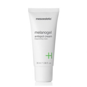 Mesoestetic Melanogel Anti-Spot Cream is a depigmenting anti-blemish cream that acts to reduce or eliminate hyperpigmented blemishes of melanic origin through inhibition of tyrosinase. 30ml