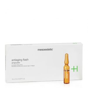 Mesoestetic Antiaging Flash Ampoules is an anti-aging treatment with immediate tensor effect. With restorative and firming properties, they combat sagging and wrinkles, giving immediate light. 10x2ml