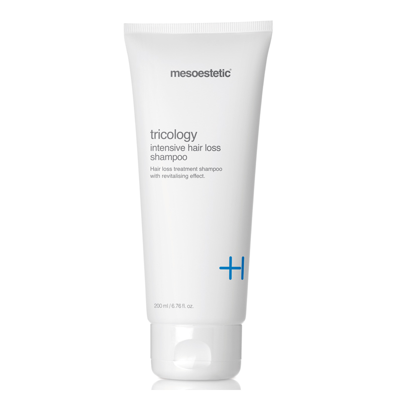 Mesoestetic Tricology Intensive Hair Loss Shampoo with dermocompatible and non-irritating pH, works by revitalizing the scalp in men and women with androgenic alopecia. 200ml