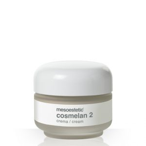 Mesoestetic Cosmelan 2 is an intensive depigmenting cream, indicated for the correction of the hyperpigmented spots and regulation of melanin production. It is a home treatment to use after cabin treatment with the Cosmelan Pack. 30g