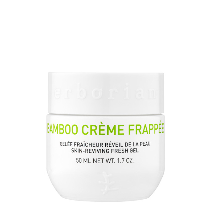 Erborian bamboo crème frappée skin reviving fresh gel is like a cascade of icy water, bamboo cream shot brings an immediate boost to the skin. Its granite texture melts instantly on contact with the skin to help tone and hydrate it. 50ml
