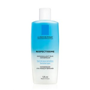 La Roche Posay Respectissime waterproof bi-phasic, non-oily make-up remover, highly effective in removing waterproof makeup. Suitable for sensitive eyes. 125ml
