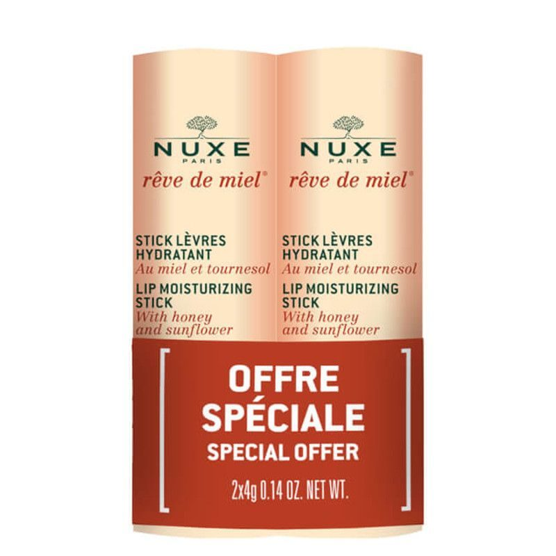 Nuxe rêve de miel duo lip moisturising stick for dry or damaged lips 2x4g