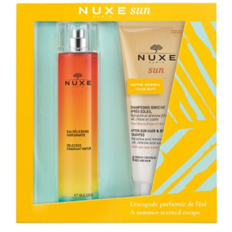 Nuxe proposes a dip in the spirit of summer with this delicious gift set. Nuxe Sun Delicious Fragrant Water Gift Set combines two emblematic care of the sunline: - Nuxe Sun Delicious Fragrant Water 100ml; - Nuxe Sun After-sun Hair & Body Shampoo 200ml.Special Limited Edition.